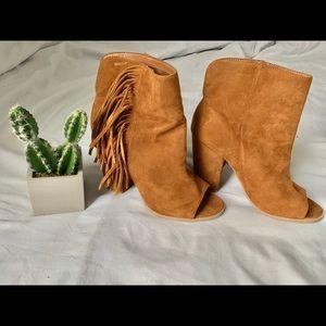 Suede peep toe heeled fringe boots